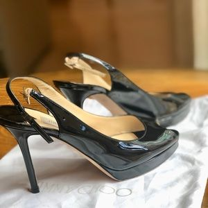 Jimmy Choo black peep toe/ sling back heels